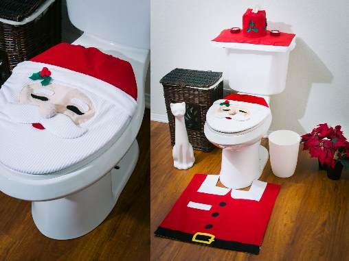 Happy Santa Bathroom Set Brings The Happiness And Joy Of Christmas To Your Bathrooms Its A Great Festive Decorate Toilet 4 Pcs Includes