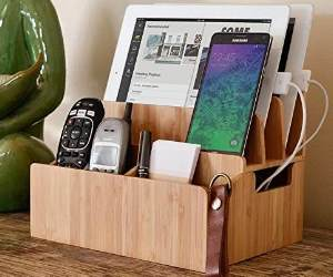 bamboo charging station desk organizer