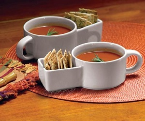 Soup and Cracker Ceramic Mugs